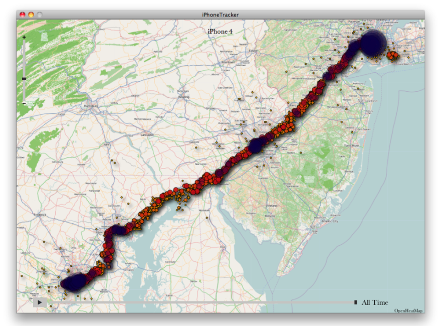 This map shows all the location points collected during a trip from Washington, D.C. to New York City.