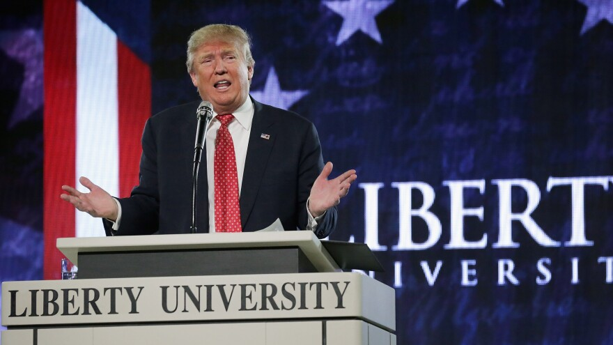 Donald Trump delivers the convocation at Liberty University on Monday. The flamboyant, twice-divorced billionaire has never been an easy fit with the religious right.