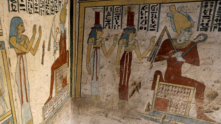 The newly discovered site also contains well-preserved wall paintings. On the walls of the tomb are depicted funeral processions; images of the owner, Tutu; and his family genealogy.