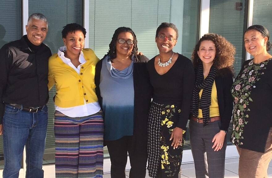 The Sharing America team with Keith Woods, Vice President of Training and Diversity for National Public Radio. (Left to right) Erica Morrison, Michelle Tyrene Johnson, Ashley Lisenby, Vanessa de la Torre, and Holly Edgell.