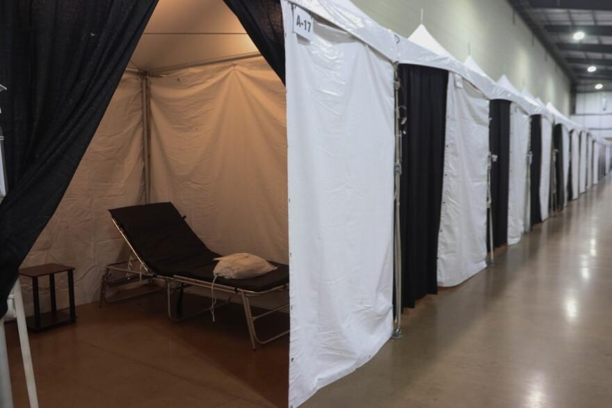 Makeshift hospital beds at the Freeman Coliseum. The Freeman Coliseum is one of the places that patients may be held at if hospitals reach capacity.