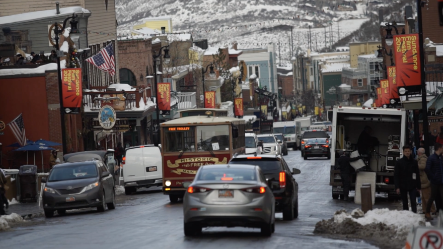 Photo of Main Street in Park City, Utah, during Sundance Film Festival.