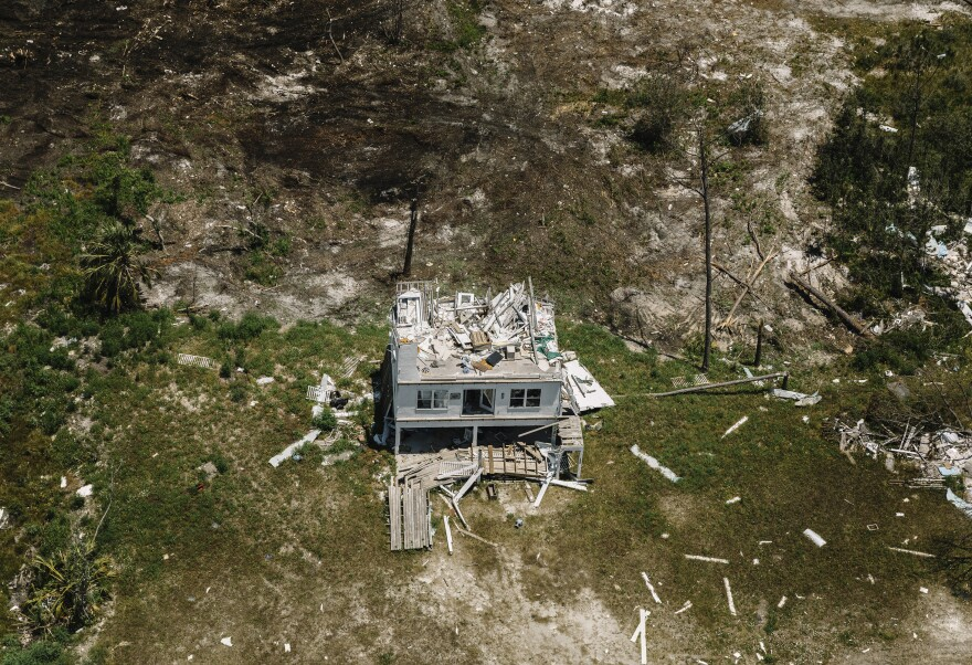 But numerous other buildings, like this house near Mexico Beach, look as though the hurricane struck yesterday. Many owners are awaiting inspections or insurance payouts before beginning repairs or demolition.