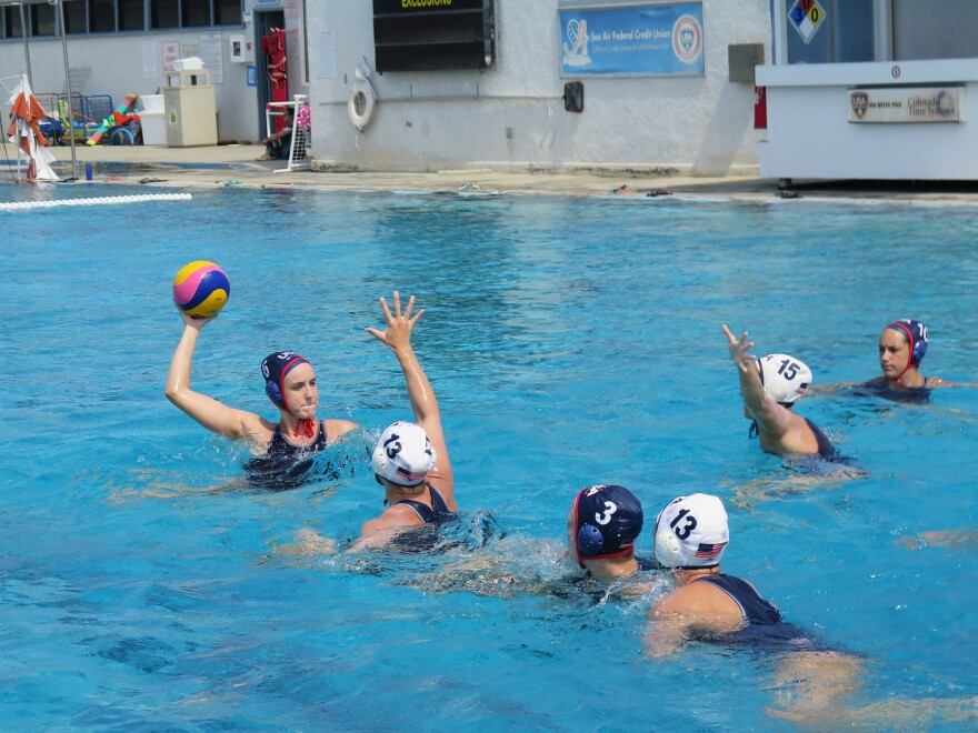The U.S. women's water polo team practices in Los Alamitos, Calif. The 2012 team took home the gold medal in the London Olympics.