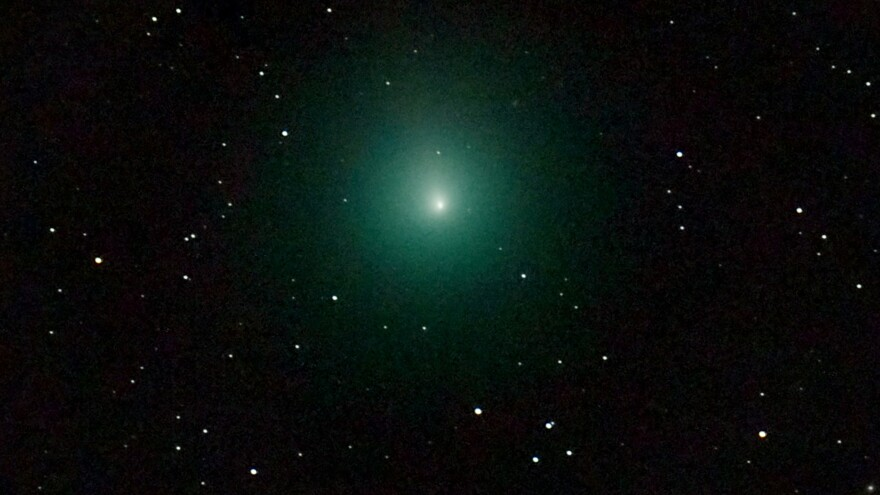 The 46P/Wirtanen comet, as seen through a telescope in France on Dec. 3, is currently making an unusually close pass by Earth. It will be visible, if weather allows, until Dec. 22.