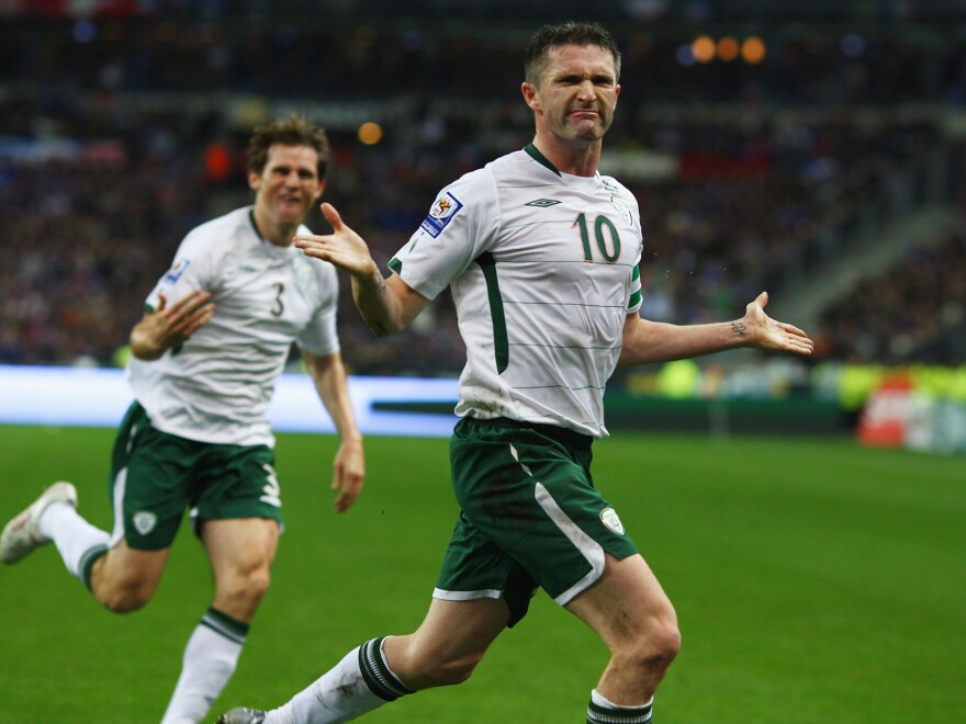 Robbie Keane scored in Ireland's controversial World Cup qualifying match with France on Nov. 18, 2009 — but the country was eliminated by the aggregate score of 2-1. Ireland's soccer association says FIFA paid 5 million euros — $7 million at 2010 exchange rates — over a blatant breaking of the rules by France.