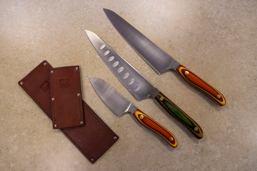 Chef Kathy Gunst loves these kitchen knives from New West Knife Works. (Jesse Costa/WBUR)
