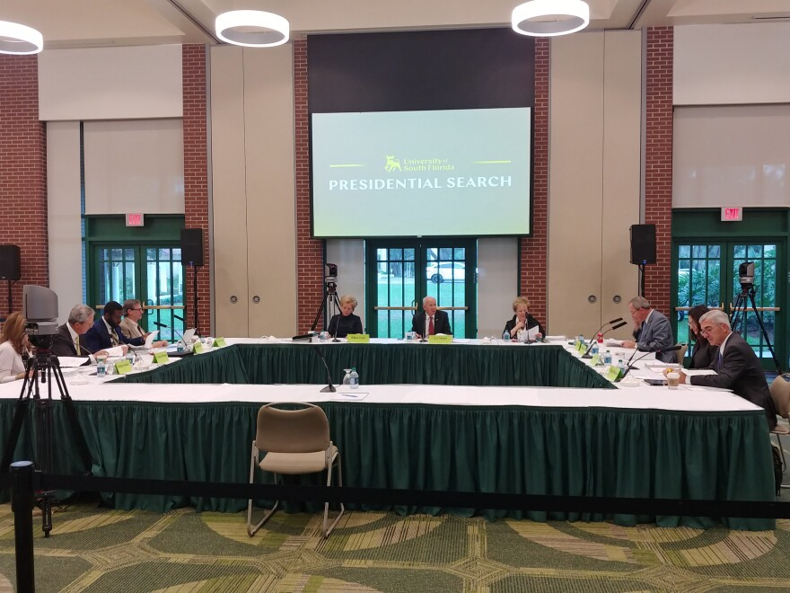 The USF Presidential Search Committee prepares to interview the four finalists Wednesday on the Tampa campus.