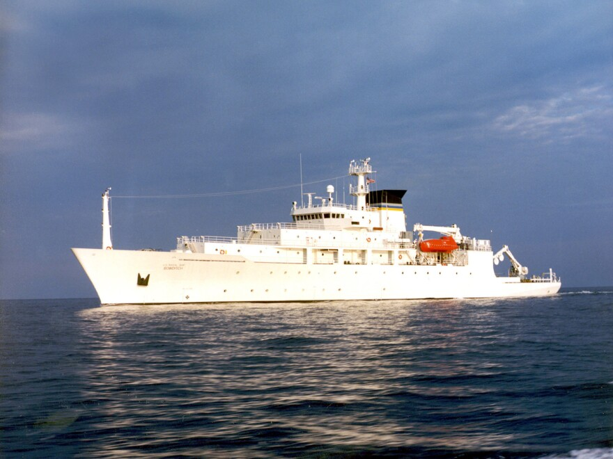 The USNS Bowditch, shown here in open waters, was in the South China Sea to pick up two underwater drones when one of the drones was confiscated by China.