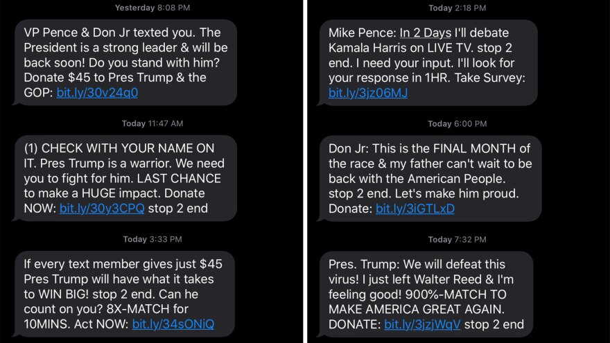 A compilation of screenshots of text messages sent by President Trump's campaign to Jennifer Stromer-Galley, a professor at Syracuse University.