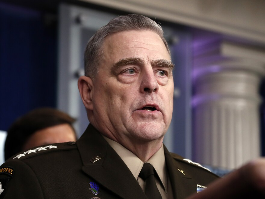 The Army is shipping soldiers to basic training again after a two-week pause. Chairman of the Joint Chiefs Gen. Mark Milley, pictured on April 1, said last week he plans to dramatically increase the military's testing for the coronavirus.