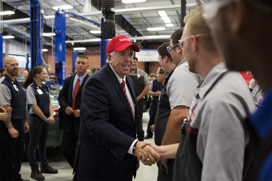 Gov. Mike Parson greets students at Ranken Technical College during a day-long tour of St. Louis on Sept. 7, 2018.