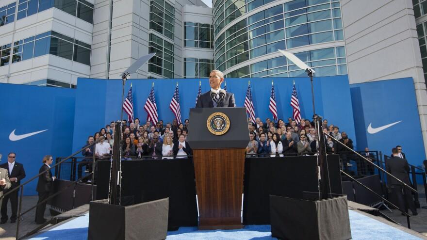 President Obama spoke at Nike headquarters in Beaverton, Ore., on Friday.