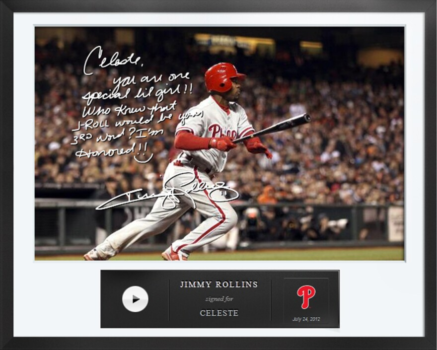 An Egraph signed by Philadelphia Phillies baseball player Jimmy Rollins. Egraphs offers an autographed digital picture with a handwritten note and a personalized audio message for $50.