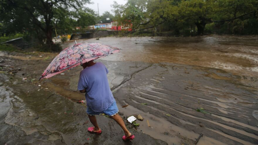 Near Managua, Nicaragua, the Masachapa River flooded following the passage of Tropical Storm Nate.