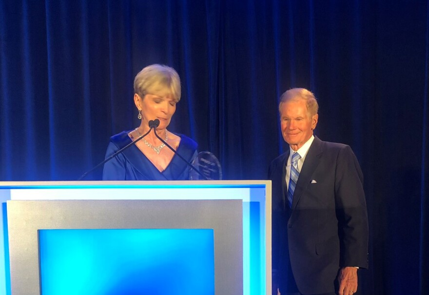 Florida Democratic Party Chair Terrie Rizzo introduces former U.S. Sen. Bill Nelson at the June 8 state party gala in Orlando.