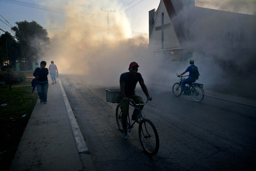 People in Pinar del Rio, Cuba, make their way through a fumigation fog that's meant to kill the mosquito that transmits the Zika virus.