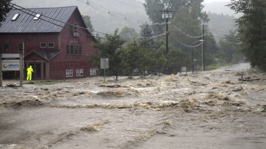 Heavy flooding washed out roads in Waitsfield, Vt., after Tropical Storm Irene in 2011.