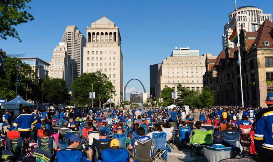 St. Louis Blues fans flocked to a watch party along Market Street downtown on Sunday for a Game 6 watch party. June 9, 2019