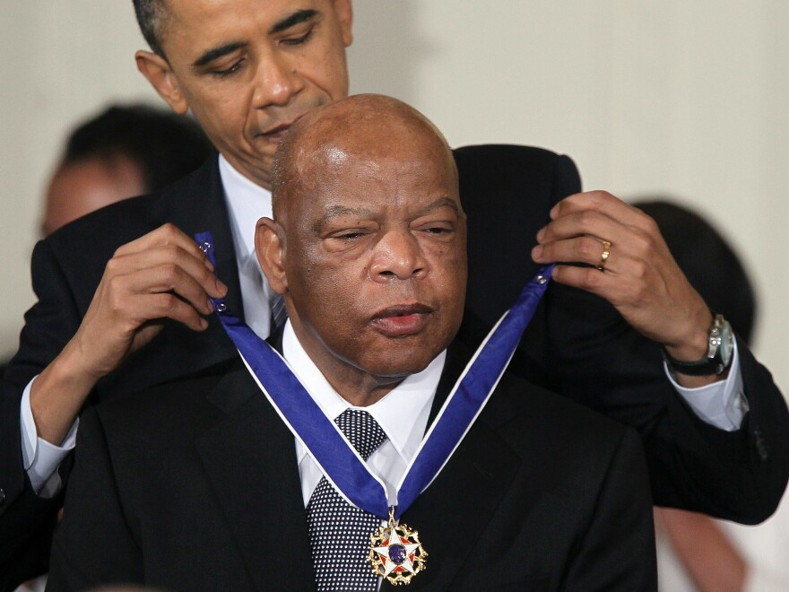Rep. John Lewis is presented with the 2010 Medal of Freedom by President Barack Obama on Feb. 15, 2011. The medal is the highest honor awarded to civilians.