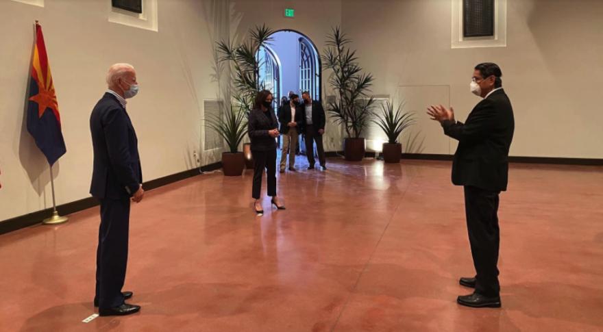 Navajo Nation President Jonathan Nez, Joe Biden, and Kamala Harris met at the Heard Museum in Phoenix