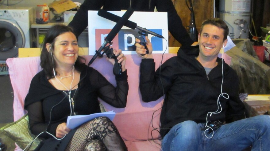 Tech correspondents Laura Sydell and Steve Henn recording the first episode of our tech team podcast in a garage in Silicon Valley. (Naturally.)