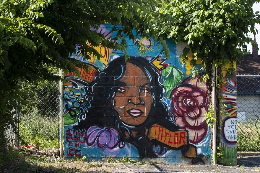Sierra's completed mural of Breonna Taylor. She's the 26-year-old emergency room technician killed by police in Louisville, Kentucky.
