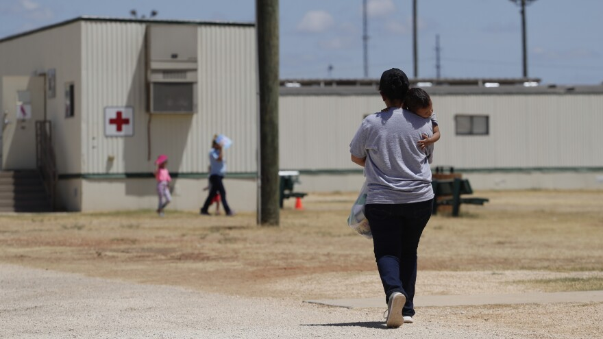 Immigrants seeking asylum are seen last year at the ICE South Texas Family Residential Center, in Dilley, Texas. A federal judge on Wednesday  ordered the Trump administration to stop expelling immigrant children who cross the southern border alone as an anti-coronavirus measure.
