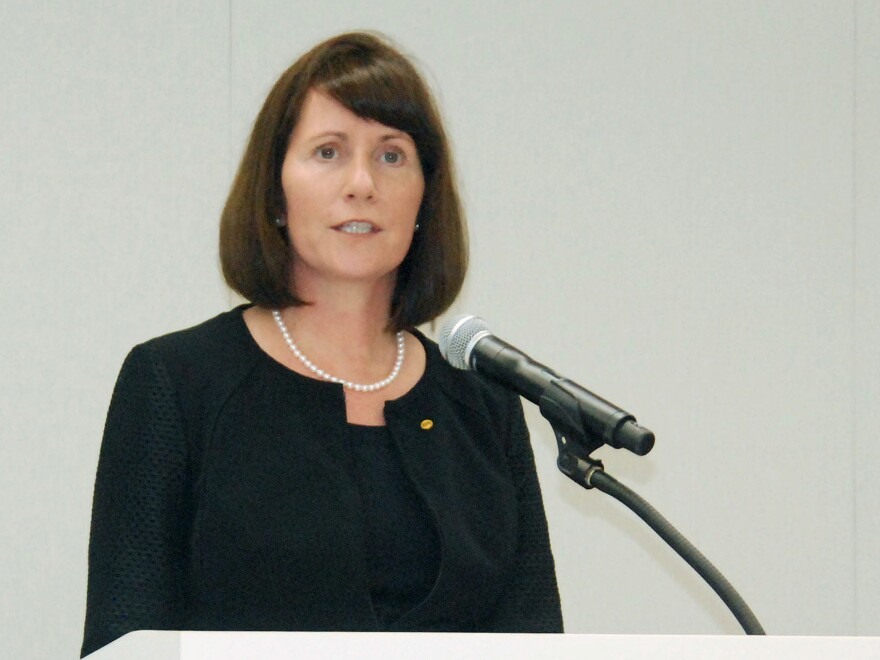 Toyota Motor Corp's Managing Officer and Chief Communications Officer Julie Hamp speaks to media during a news conference in Nagoya, central Japan, in this photo released by Kyodo on June 18.