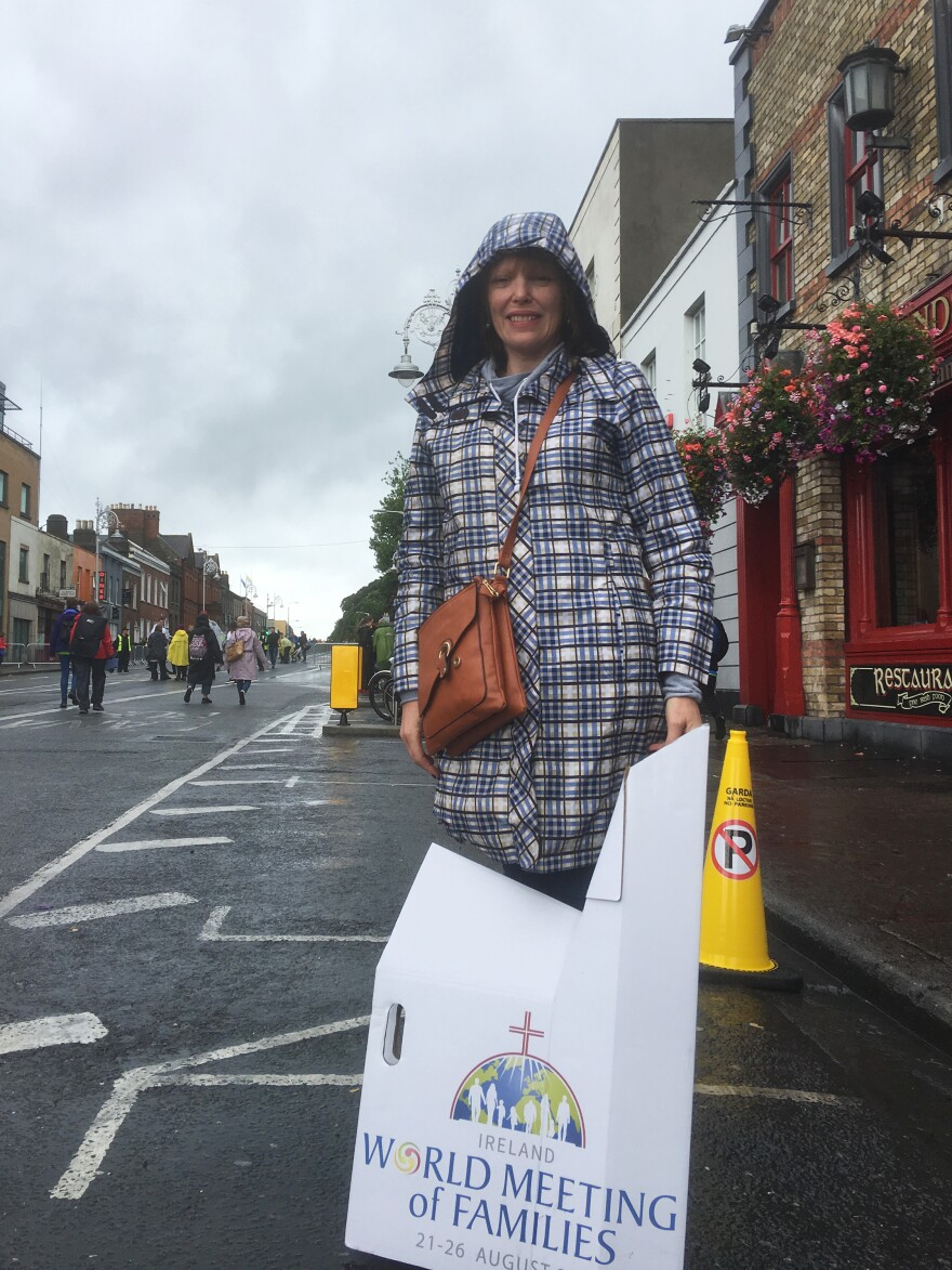 """Sarah O'Rourke, a primary school religion teacher, didn't tell some acquaintances she was attending the pope's Mass in Dublin on Sunday. """"It wasn't a popular thing to say,"""" she said."""