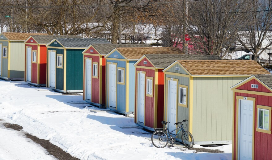St. Louis officials installed 50 tiny homes this past fall in the former St. Louis RV Park lot. Most have a nearly identical build with a door, window, heater, desk and bed.