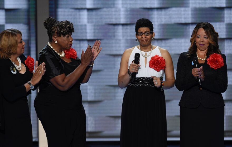 Geneva Reed-Veal (second from right) speaks about her support for Hillary Clinton and about her daughter, Sandra Bland, who was found dead in her jail cell last summer.