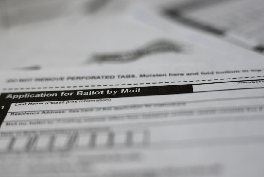 A mail-in ballot application.