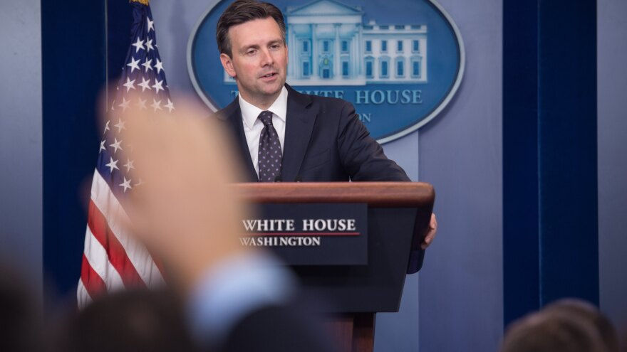 "White House spokesman Josh Earnest at the White House briefing Tuesday, where he said he would ""neither defend nor criticize what Director [James] Comey has decided to communicate to the public"" regarding the investigation of Hillary Clinton's private email server."