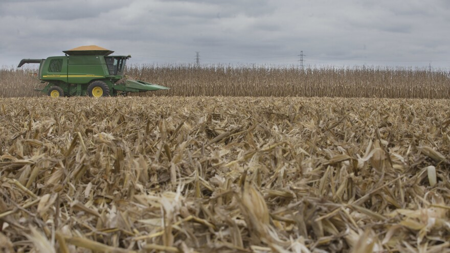 A loaded combine harvester during a late corn harvest in Hamilton, Ohio.