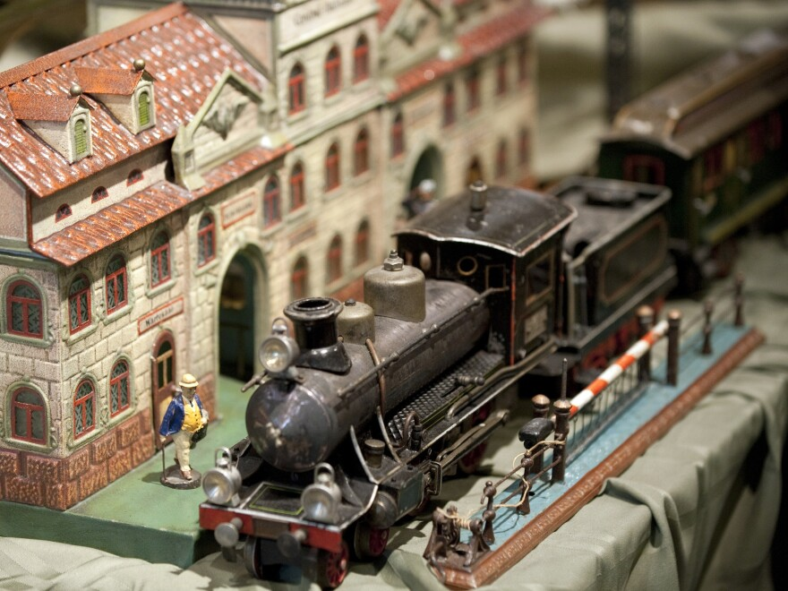 A toy train is on display as part of The Jerni Collection of Toys and Toy Trains on Feb. 17, 2011 at Sotheby's in New York.