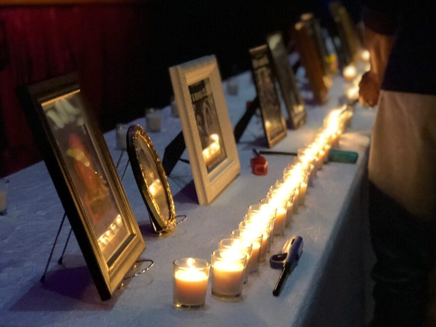 Family members lit candles in honor of lost loved ones at the 2018 Thanksgiving Memorial Brunch organized by a Charlotte, N.C., support group called Mothers of Murdered Offspring.