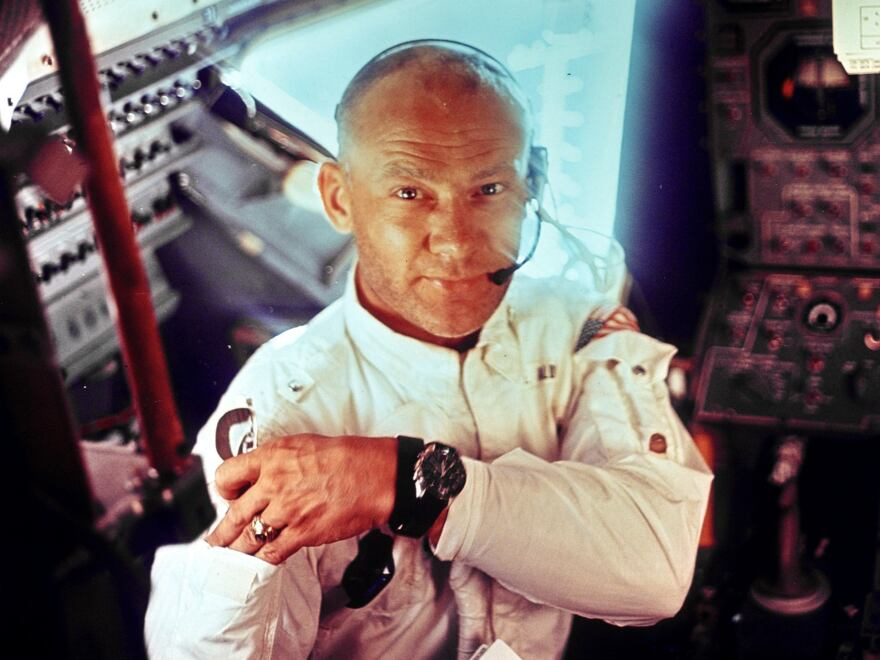 """Edwin """"Buzz"""" Aldrin, during the Apollo 11 mission to the moon."""