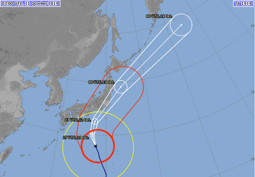 Track forecast for Super Typhoon Hagibis, issued Friday.