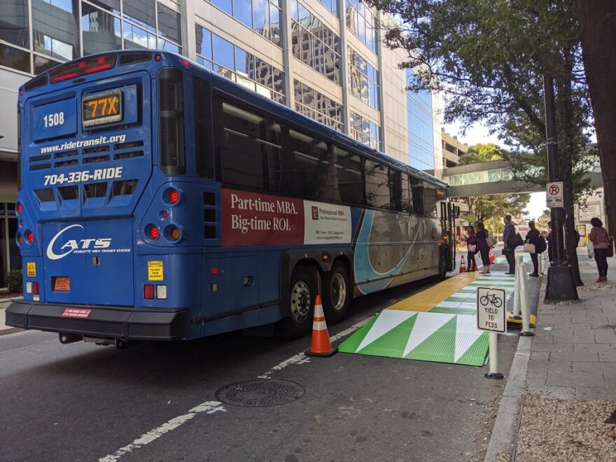 CDOT's actual floating bus stop installed in October 2019.