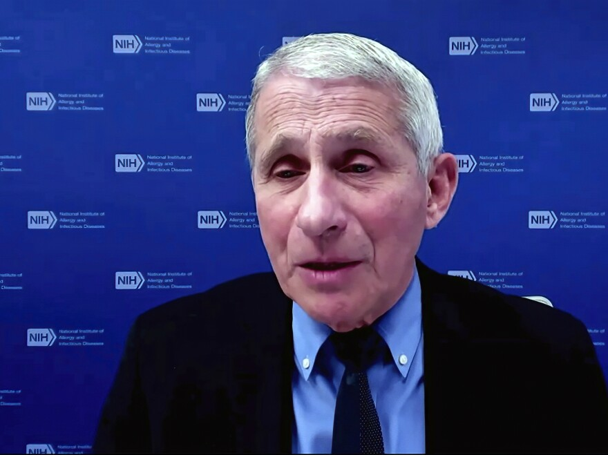 In this image from video, Dr. Anthony Fauci, director of the National Institute of Allergy and Infectious Diseases and chief medical adviser to the president, speaks Wednesday during a White House briefing on the Biden administration's response to the COVID-19 pandemic.
