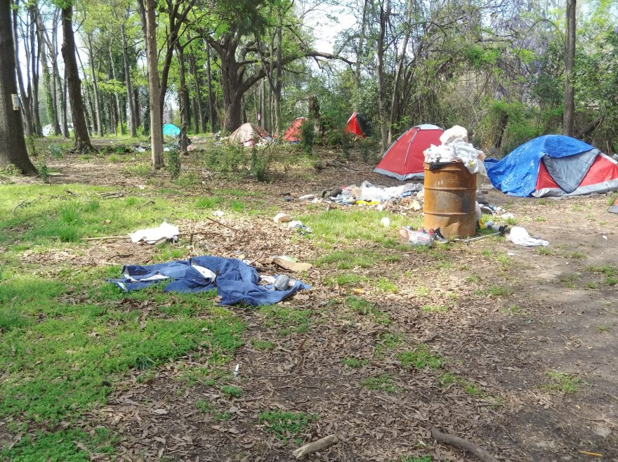 People have been camping at 12th and Poplar streets for months. This is the site in March 2020.