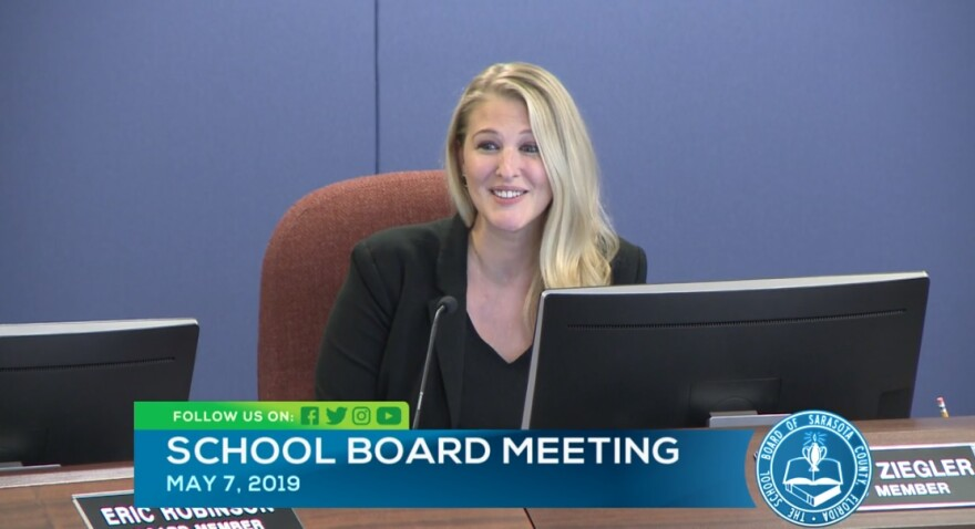 Sarasota County School Board Member Bridget Ziegler at a meeting Tuesday night