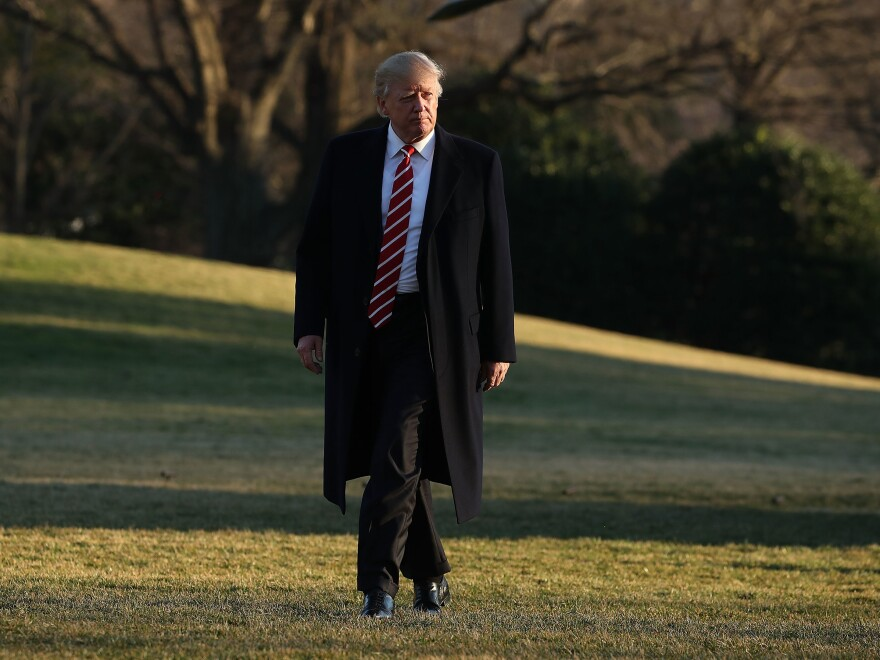 President Trump arrives back at the White House on Monday after spending the weekend in Florida. The president has struggled to get his Cabinet appointees through the Senate in part because Senate Democrats have continued to delay the process.