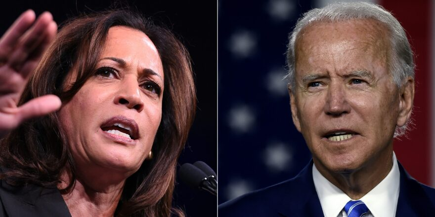 This combination photo shows (L-R) Kamala Harris in San Francisco, California on August 23, 2019; and Joe Biden on July 14, 2020 at the Chase Center in Wilmington, Delaware. (JOSH EDELSON,OLIVIER DOULIERY/AFP via Getty Images)