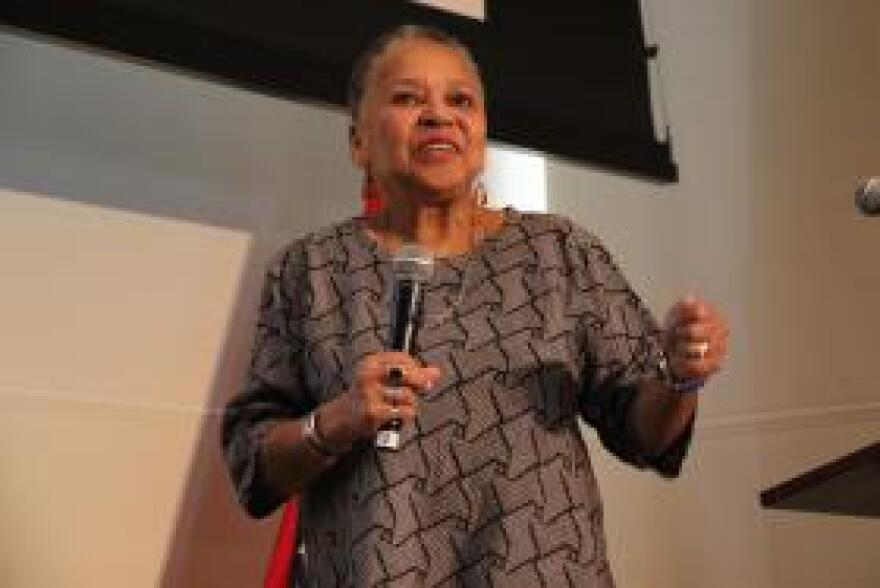 Little Rock Nine member Gloria Ray Karlmark spoke at the William J. Clinton Presidential Center Saturday at a symposium on the 1957 desegregation crisis.