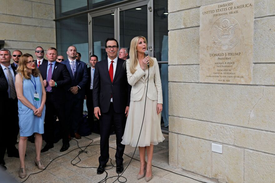 Treasury Secretary Steve Mnuchin and Ivanka Trump unveil an inauguration plaque during the opening of the U.S. Embassy in Jerusalem on May 14, 2018.