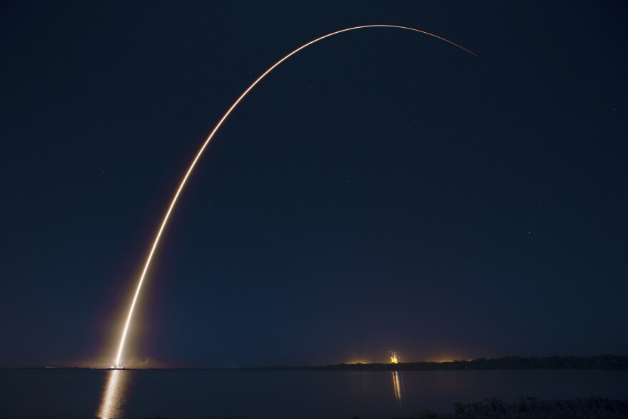 A streak from the launch of the ABS-Eutelsat 1.