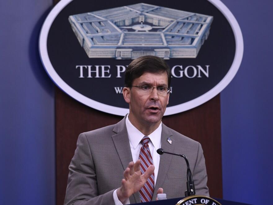 Defense Secretary Mark Esper, pictured on Monday, said the U.S. airstrike in Iraq on Thursday targeted Kata-ib Hizbollah weapon storage facilities.