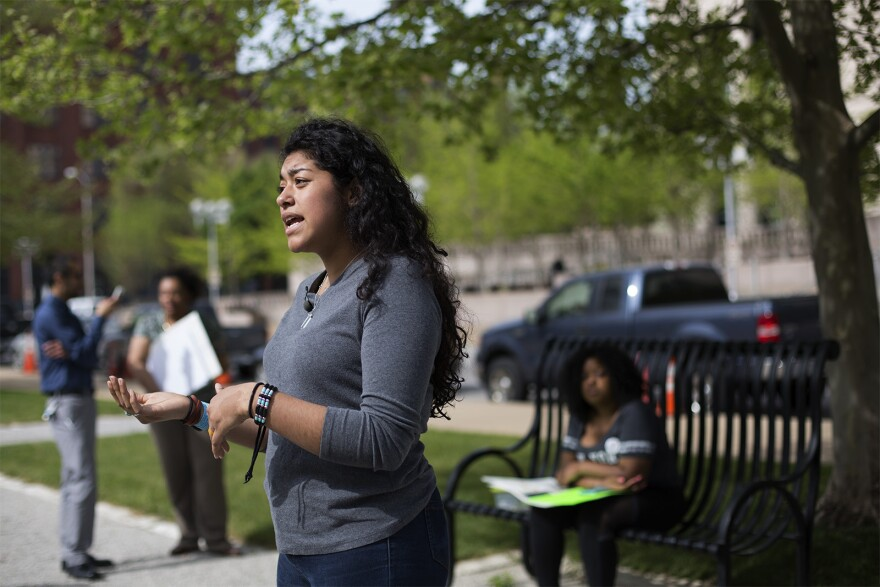Naomi Carranza speaks with reporters outside the federal courthouse in downtown St. Louis in April.